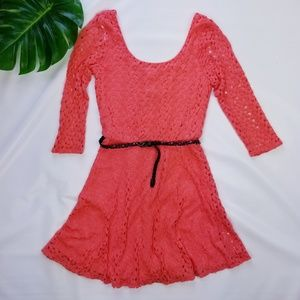 Coral Lace Scoop Belted Dress Fully Lined